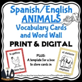 Spanish Animals Vocabulary Flashcards and Word Wall