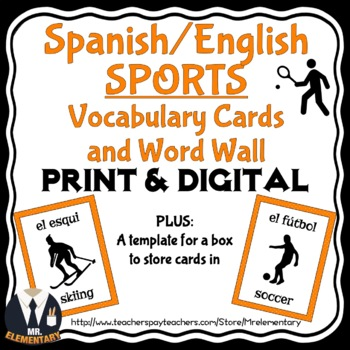 Spanish Sports Vocabulary Flashcards and Word Wall
