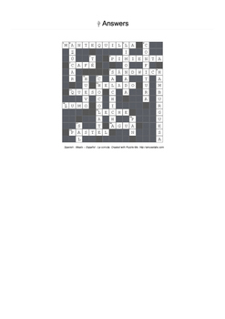 Spanish Vocabulary - Food and Drink, Cutlery Crossword Puzzles