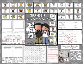 Spanish Vocabulary Food and Drink for Dual Language, ESOL, ELL