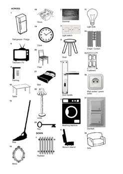 Spanish Vocabulary - Furniture and Household Items Crossword Puzzle