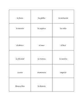 Spanish Vocabulary Guessing Game- Celebrations