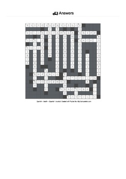 Spanish Vocabulary - Health Crossword Puzzle