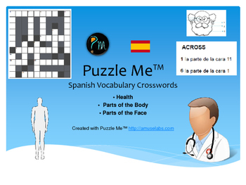 Spanish Vocabulary - Health, Parts of the Face and Body Crossword Puzzles