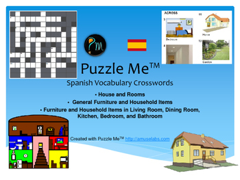 Spanish Vocabulary House And Rooms Furniture Crossword Puzzles