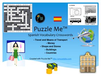 Spanish Vocabulary - Travel, Buildings and Money Crossword Puzzles