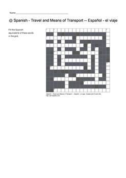 Spanish Vocabulary - Travel, Buildings and Money Crossword Puzzles