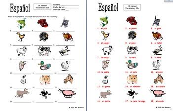 Spanish Vocabulary IDs Bundle #2 of 5 Worksheets