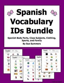Spanish Vocabulary IDs Bundle of 5 Worksheets