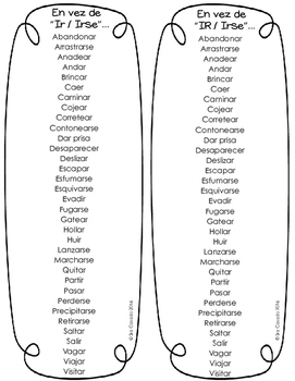 "Spanish Vocabulary ""Instead of Ir and Irse"""