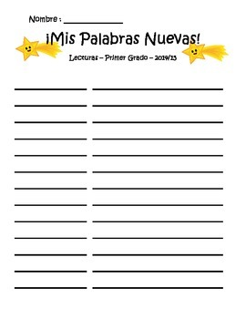 Spanish Vocabulary Journal