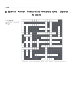 Spanish Vocabulary - Kitchen - Furniture and Household Items Crossword Puzzle