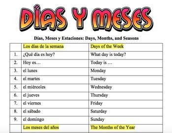 Spanish Vocabulary: Días y meses (25 words)