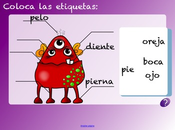 Spanish Vocabulary Lesson on Parts of the Body. Monster Themed