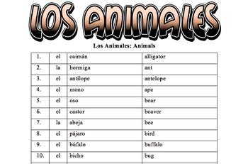 Spanish Vocabulary: Los Animales (100 words)