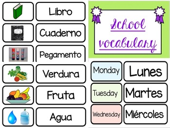 Spanish Vocabulary Matching Cards Game/ Juego de Vocabulario en Español
