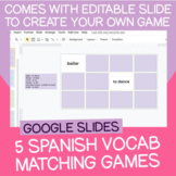Spanish Vocabulary Matching Game | Editable Google Slides