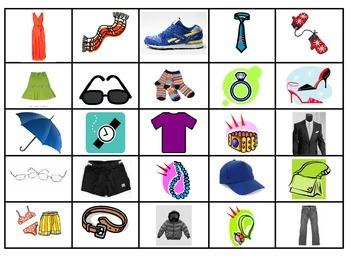 Spanish Vocabulary Memory Game (ropa)