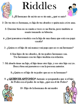 Spanish Vocabulary - Mi familia riddles