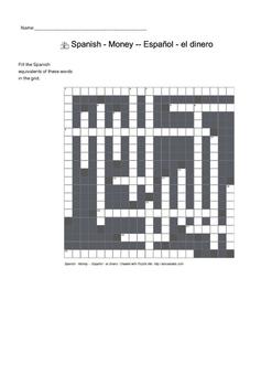 Spanish Vocabulary - Money Crossword Puzzle