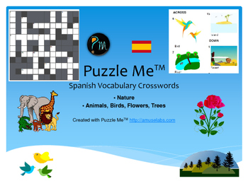 Spanish Vocabulary - Nature Crossword Puzzles