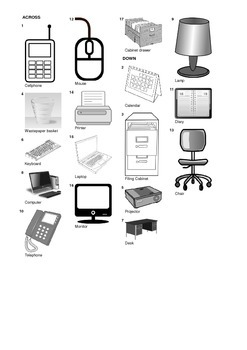 Spanish Vocabulary - Office Equipment and Furniture Crossword Puzzle