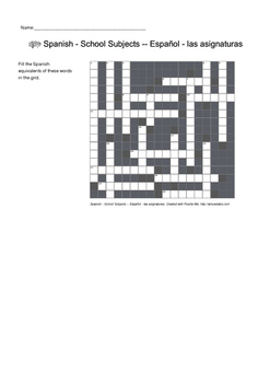 Spanish Vocabulary - Office Furniture and School Subjects Crossword Puzzles