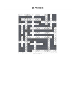 Spanish Vocabulary - Office Supplies and Stationery Crossword Puzzle