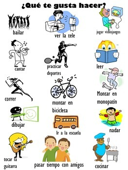 Spanish Vocabulary Package for Activities you Like