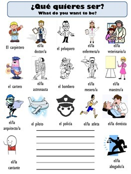 Spanish Vocabulary Package for Jobs