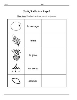 Spanish Vocabulary Packet - Fruit / La Fruta