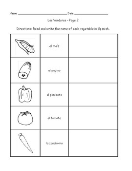 Spanish Vocabulary Packet - Vegetables
