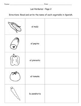Vegetables - Las Verduras - Printable Packet