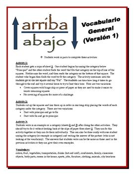 Spanish Vocabulary Partner Activities (Speak, Read, Listen, Write)-Version 1