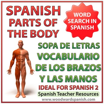 Spanish Vocabulary Parts of the Arm and Hand - Spanish Word Search