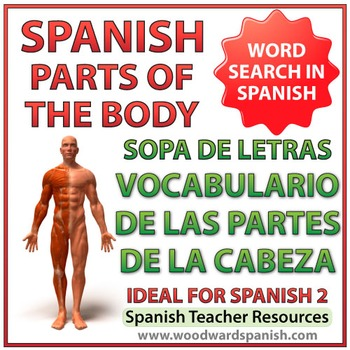 Spanish Vocabulary Parts of the Head - Word Search