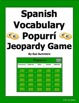 Spanish Vocabulary Popurrí Jeopardy Game - Spanish Games