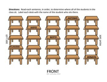 Spanish Vocabulary:  Prepositional Phrase Seating Chart Activity