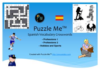 Spanish Vocabulary - Professions, Sports and Hobbies Crossword Puzzles