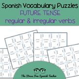 Spanish Vocabulary Puzzles FUTURE Verb Tense: Regular and Irregular 4 puzzles!