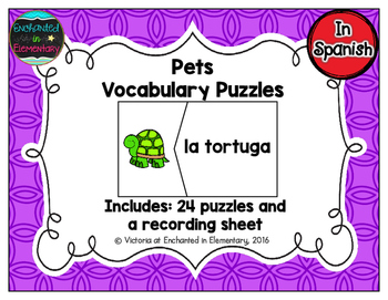 Spanish Vocabulary Puzzles: Pets Set