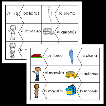 Spanish Vocabulary Puzzles: School Supplies!