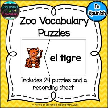 Spanish Vocabulary Puzzles: Zoo Set