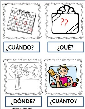 Spanish Vocabulary Question Word Cards