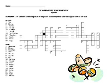 Spanish Vocabulary Quick Puzzle- 30 Words You Should Know