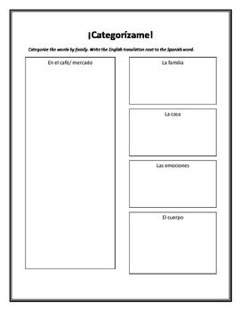 Spanish Vocabulary Review-- Categorias