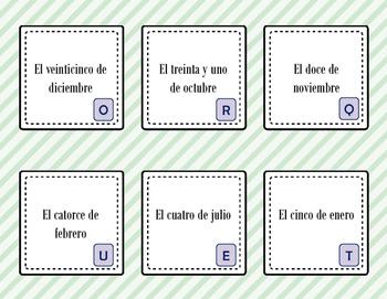 Spanish Vocabulary Scavenger Hunt: Days, Months, Seasons, Date