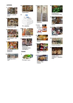 Spanish Vocabulary - Shops and Stores Crossword Puzzle