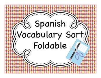 Spanish Vocabulary Sort Fold-It
