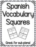 Spanish Vocabulary Squares - 4 Square Vocabulary Model